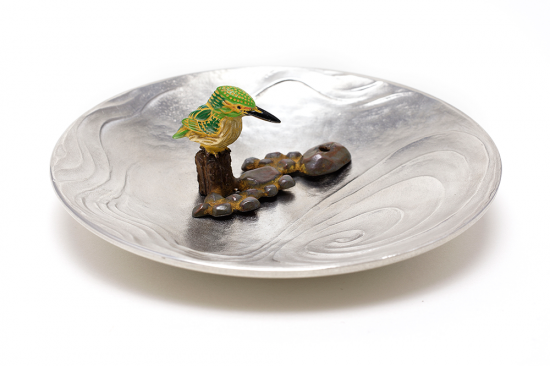 銅香立 翡翠 錫皿付