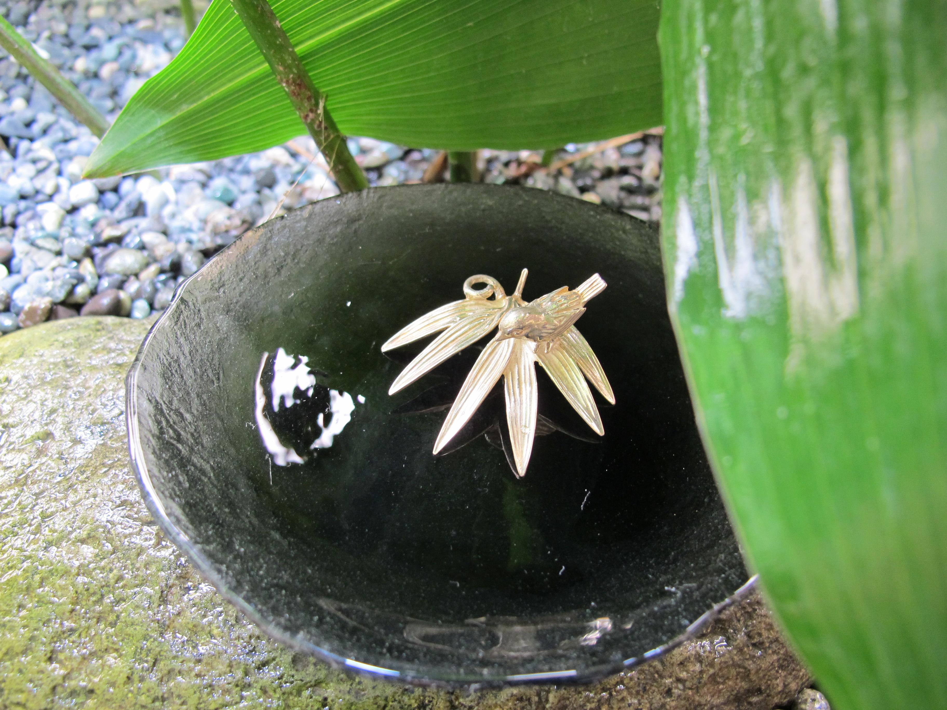 銀 竹に雀香立
