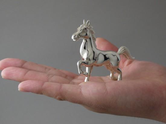 銀製 干支置物 午 馬